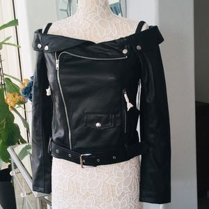 Off Shoulder Faux Leather Jacket